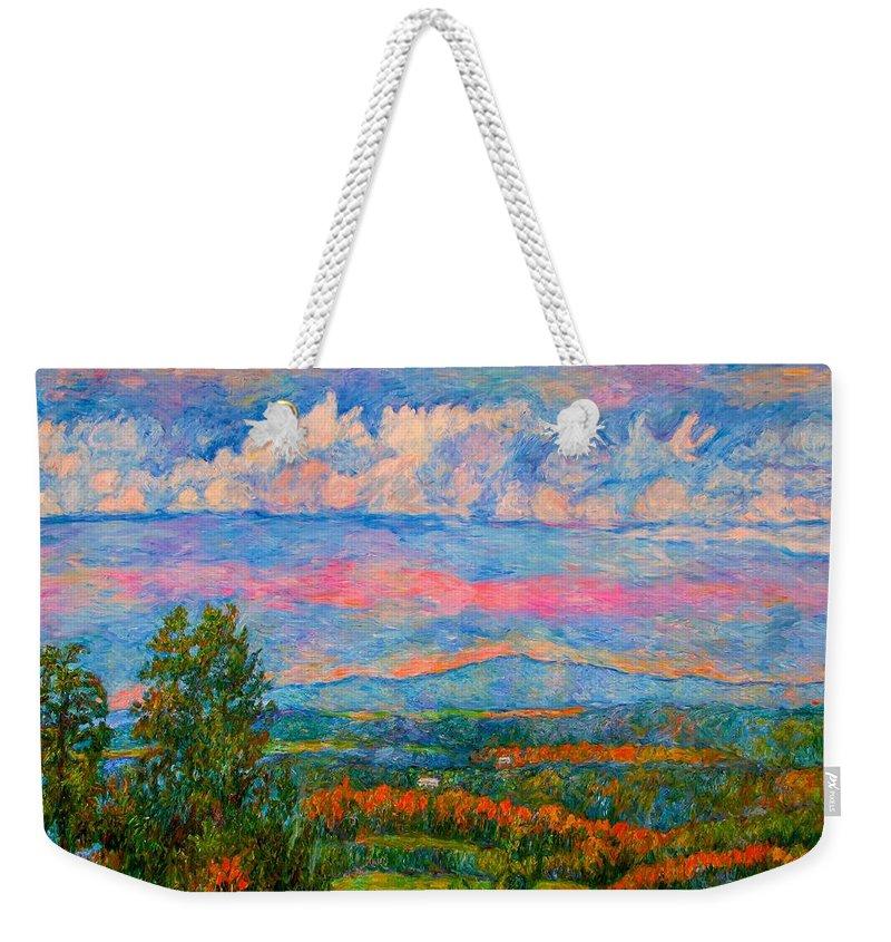 Mountains Weekender Tote Bag featuring the painting Blue Ridge Cloud Burst by Kendall Kessler