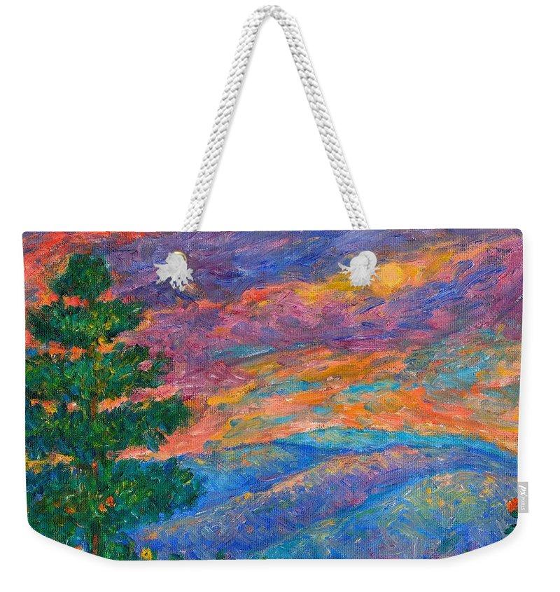 Mountains Weekender Tote Bag featuring the painting Blue Ridge Jewels by Kendall Kessler