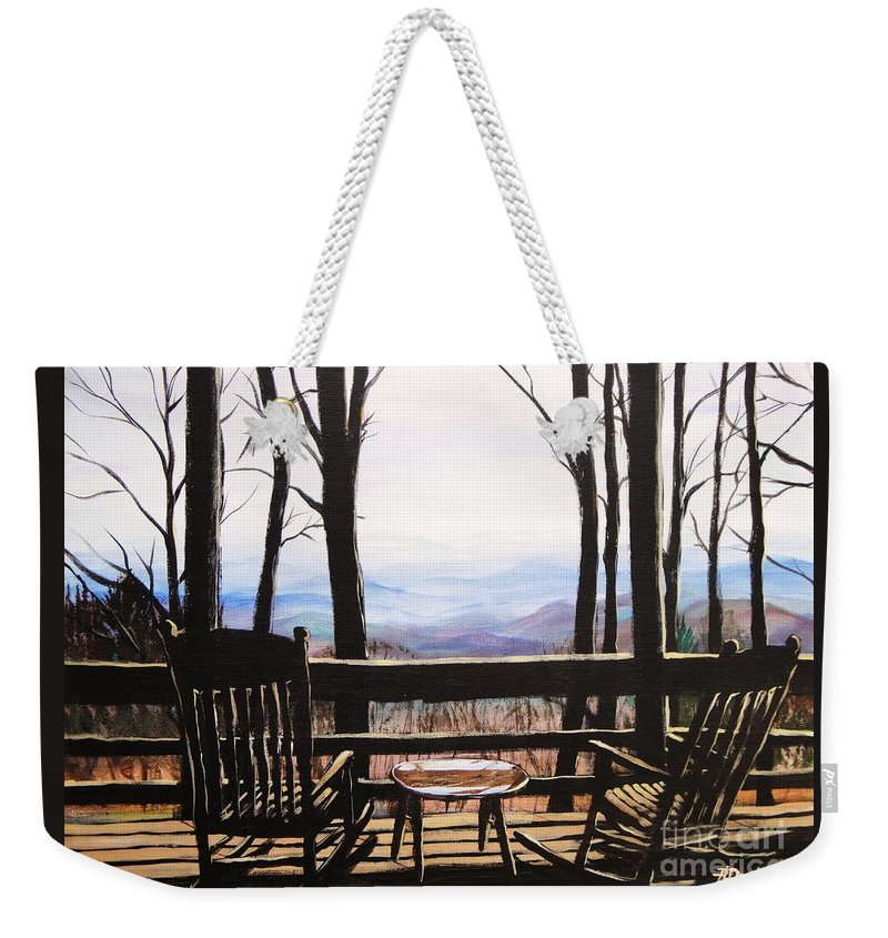 North Carolina Weekender Tote Bag featuring the painting Blue Ridge Mountain Porch View by Patricia L Davidson