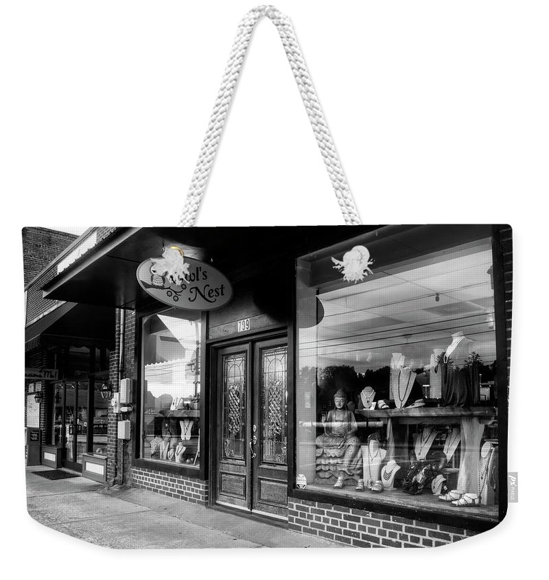Owl's Nest Weekender Tote Bag featuring the photograph Blue Ridge Owl's Nest In Black And White by Greg and Chrystal Mimbs