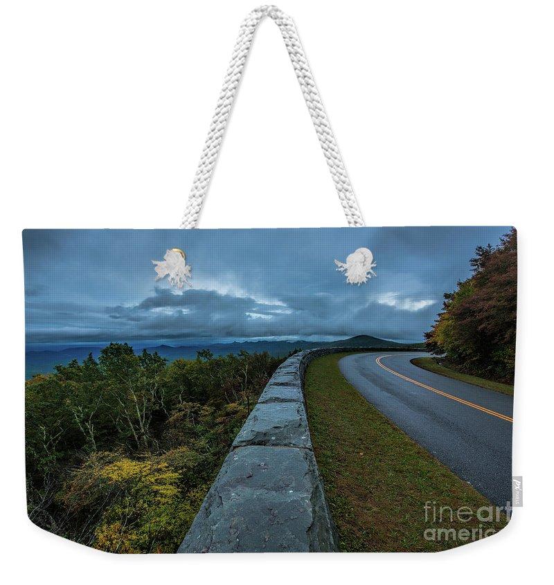 Blue Ridge Parkway Weekender Tote Bag featuring the photograph Blue Ridge Parkway Twisty by Robert Loe