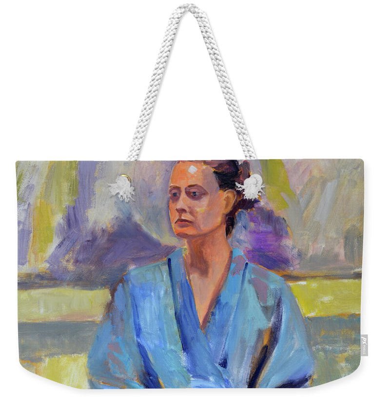 Figure Weekender Tote Bag featuring the painting Blue Robe by Keith Burgess