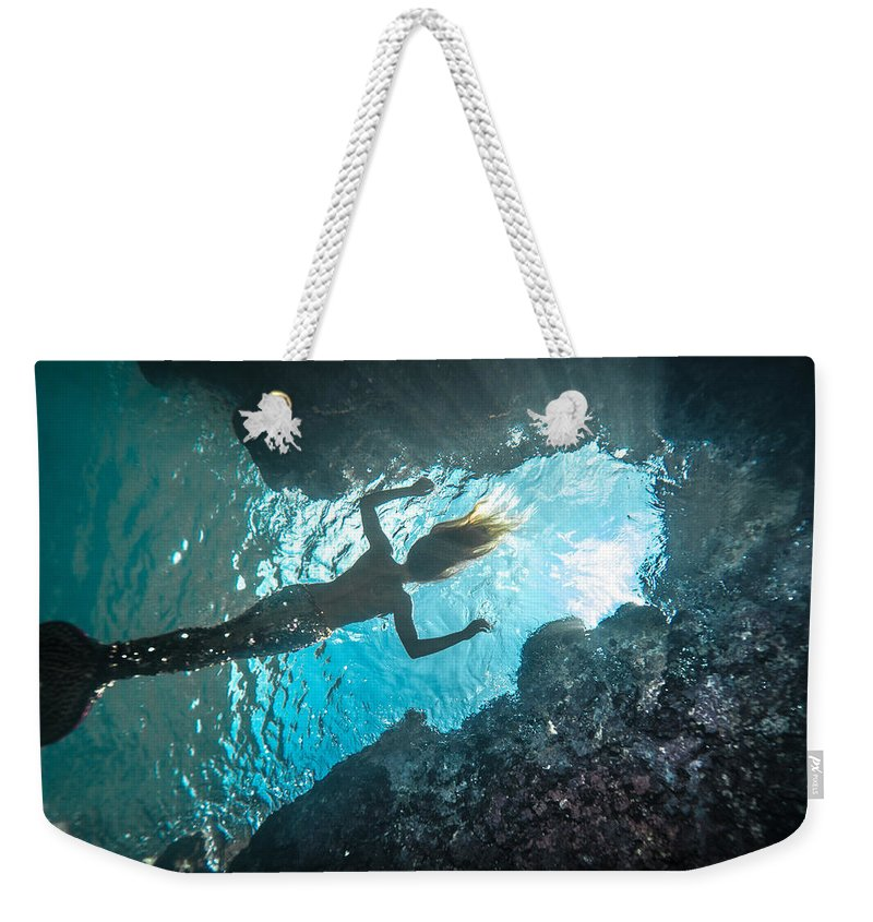 Mermaid Weekender Tote Bag featuring the photograph Blue Room by Leonardo Dale