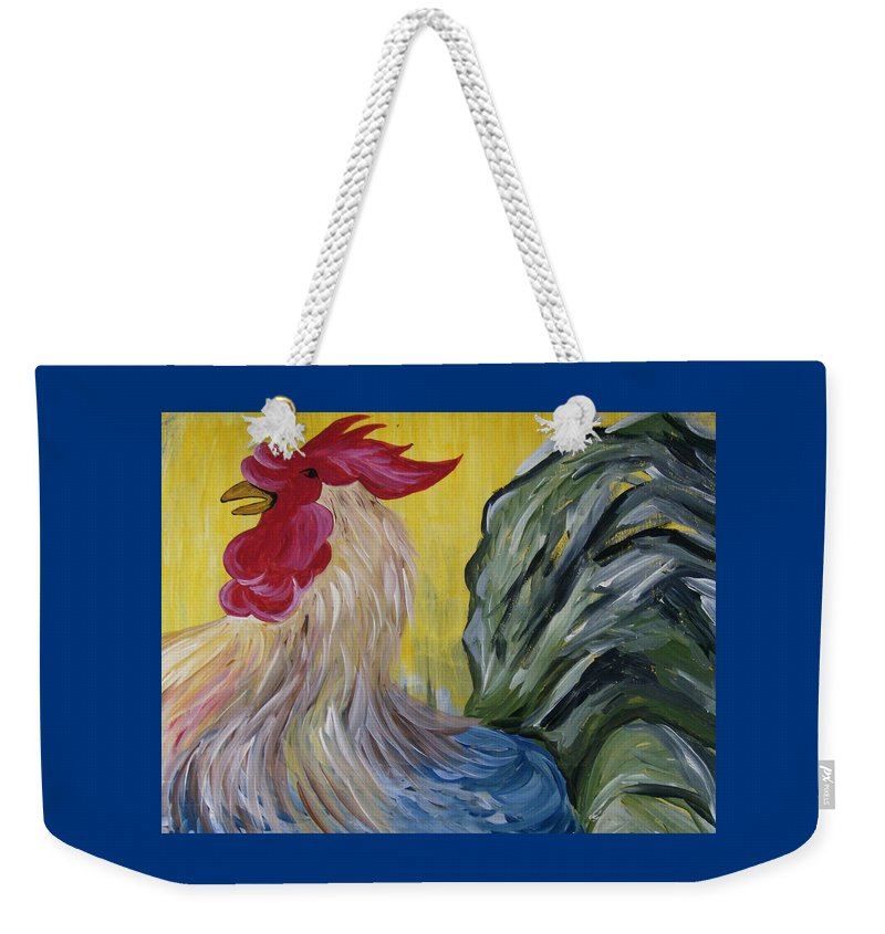 Rooster Weekender Tote Bag featuring the painting Blue Rooster by Leslie Manley