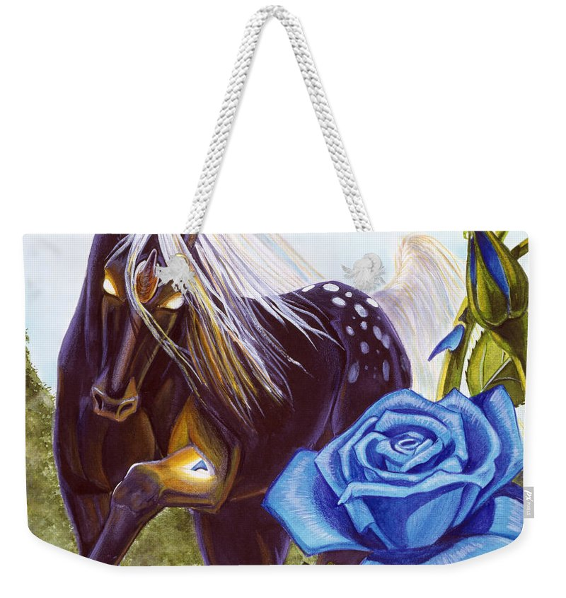 Unicorn Weekender Tote Bag featuring the drawing Blue Rose Unicorn by Melissa A Benson