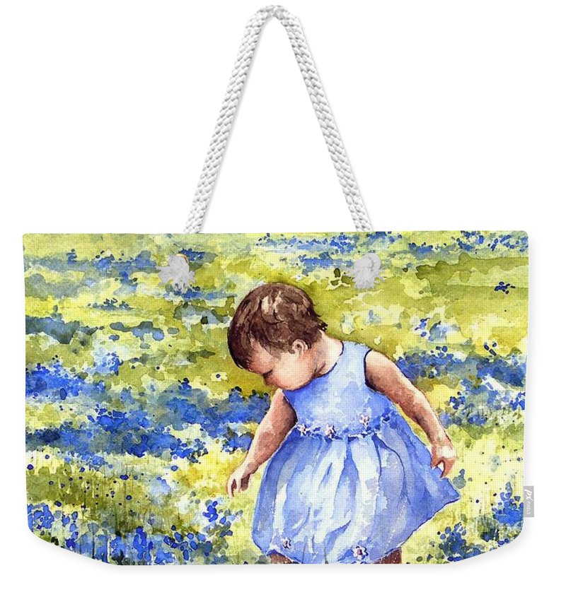 Blue Weekender Tote Bag featuring the painting Blue by Sam Sidders