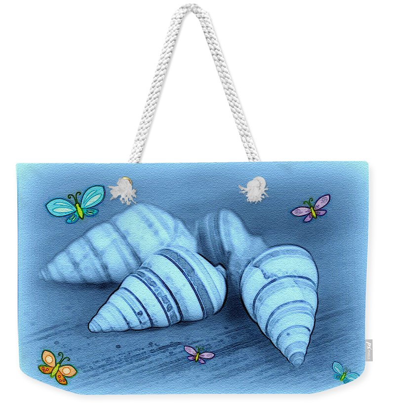 Shell Art Weekender Tote Bag featuring the photograph Blue Seashells by Linda Sannuti