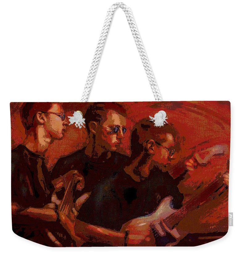 Portrait Weekender Tote Bag featuring the painting Blue Shades by Jean Hildebrant