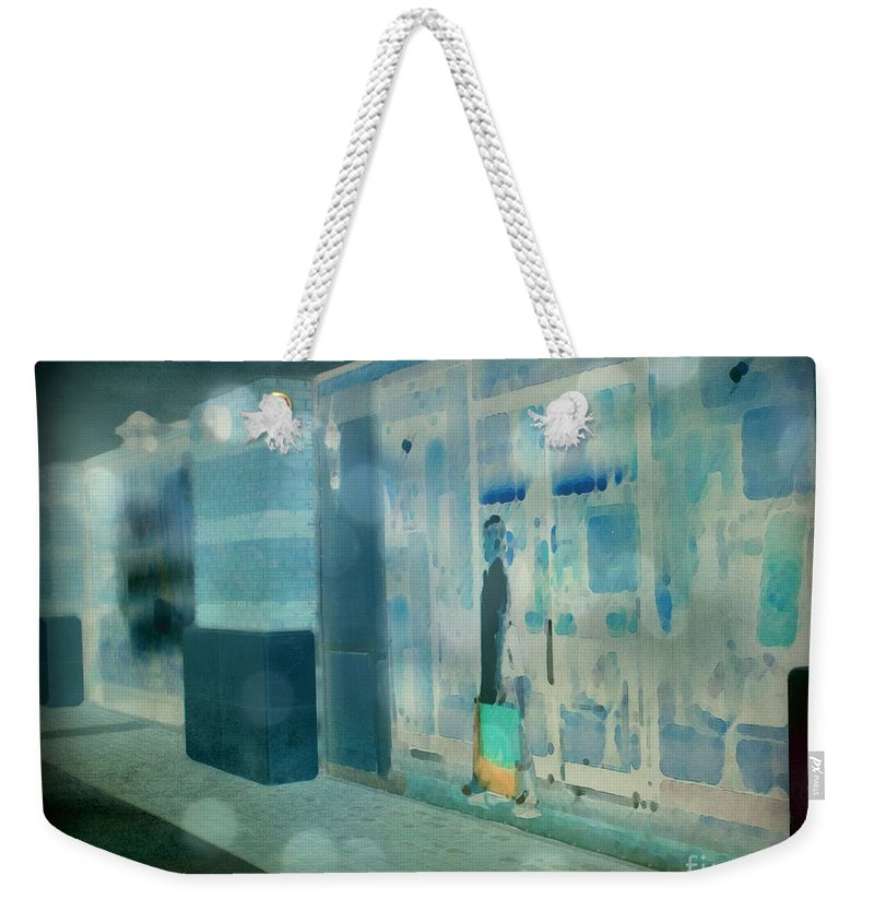 Post Processed Weekender Tote Bag featuring the photograph Blue Shopper by Paulette B Wright