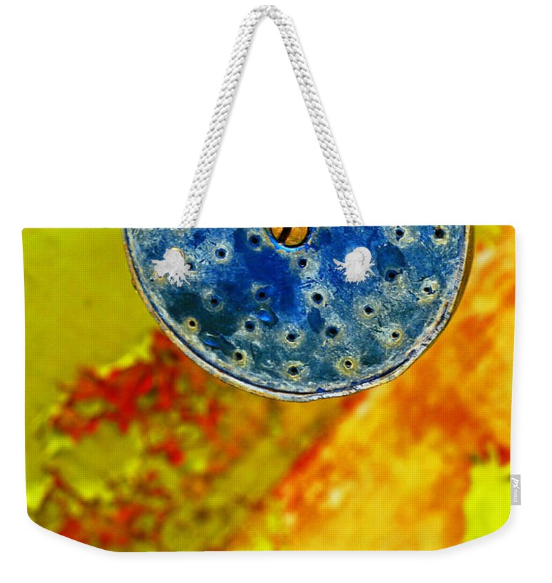 Shadow Weekender Tote Bag featuring the photograph Blue Shower Head by Skip Hunt