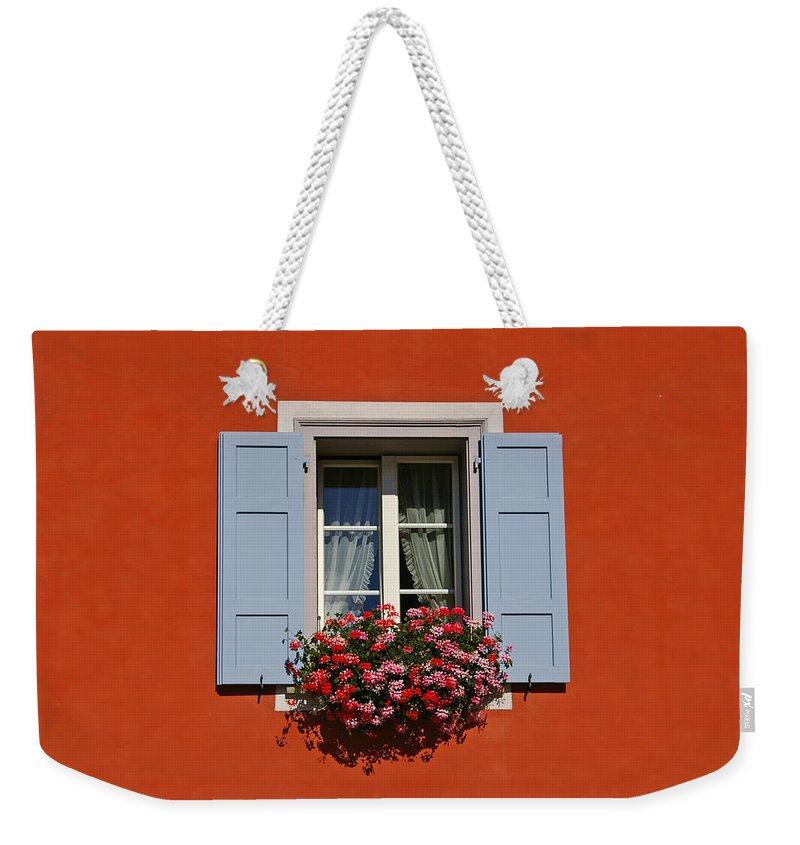 Red Weekender Tote Bag featuring the photograph Blue Shutters by Tom Reynen