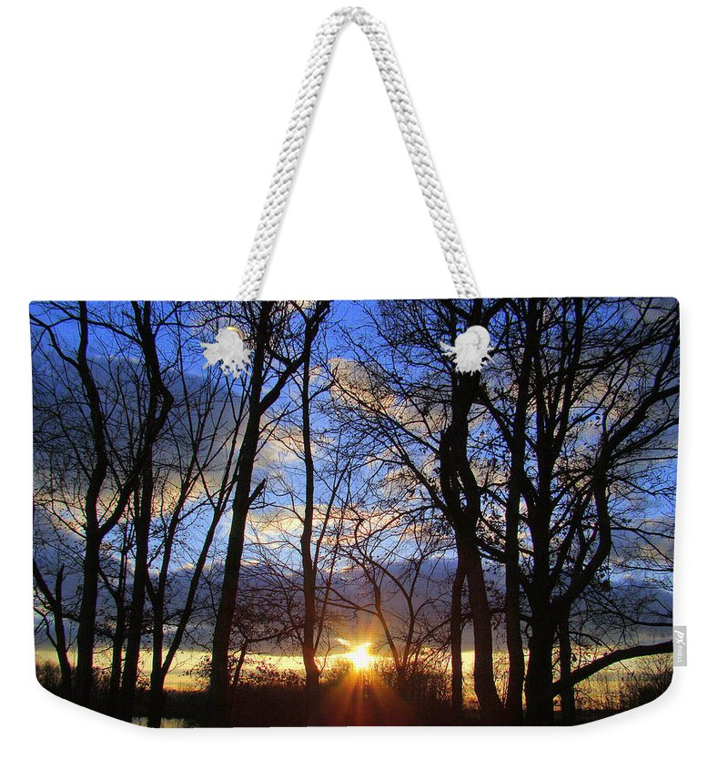 Sunset Weekender Tote Bag featuring the photograph Blue Skies And Golden Sun by J R Seymour