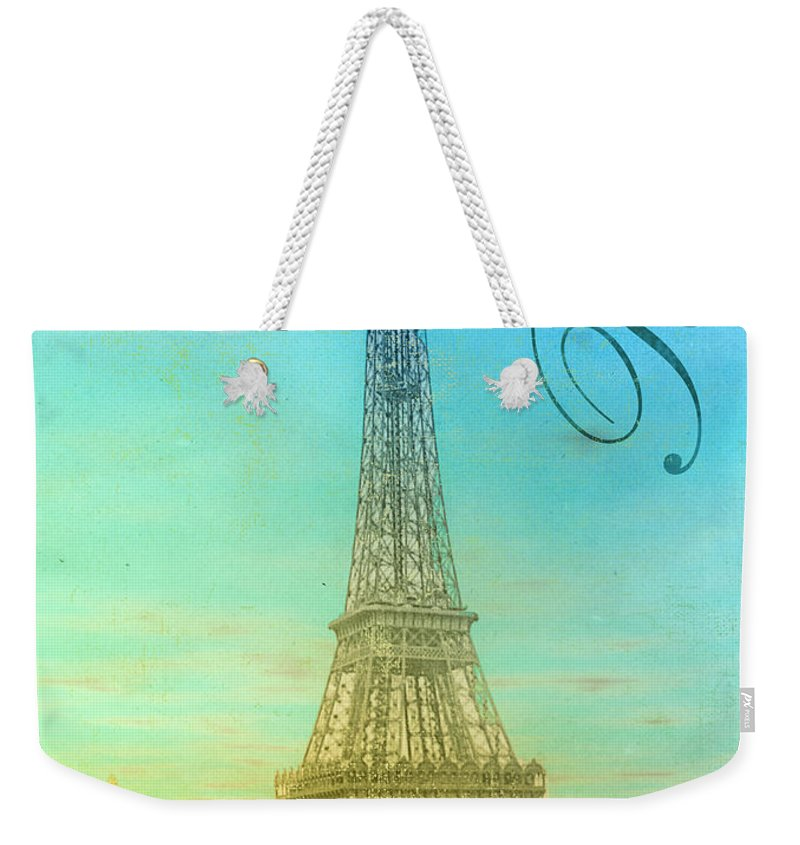 Paris Weekender Tote Bag featuring the painting Blue Sky Eiffel Tower by Mindy Sommers