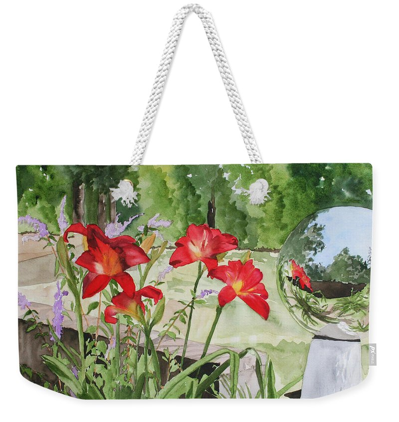 Flowers Weekender Tote Bag featuring the painting Blue Sky Reflections by Jean Blackmer