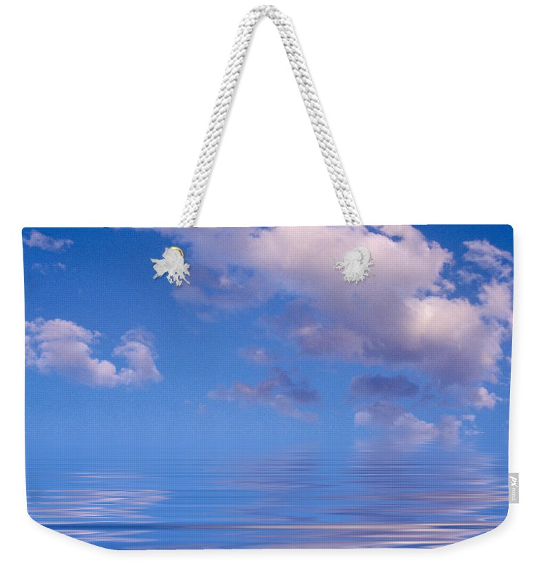 Original Art Weekender Tote Bag featuring the photograph Blue Sky Reflections by Jerry McElroy