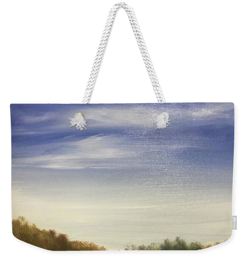 Landscape Weekender Tote Bag featuring the painting Blue Sky by Sheila Mashaw
