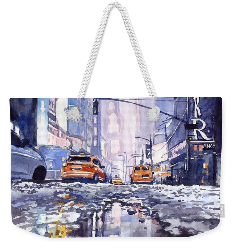Blue Weekender Tote Bag featuring the painting Blue Skyscrapers by Suzann Sines