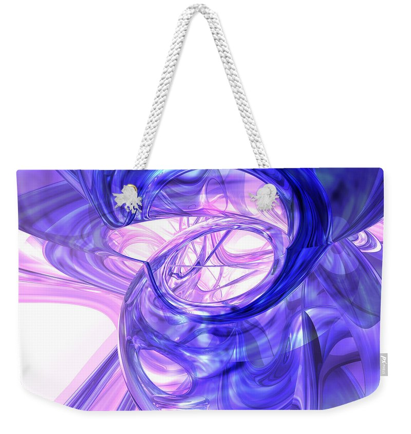 3d Weekender Tote Bag featuring the digital art Blue Smoke Abstract by Alexander Butler