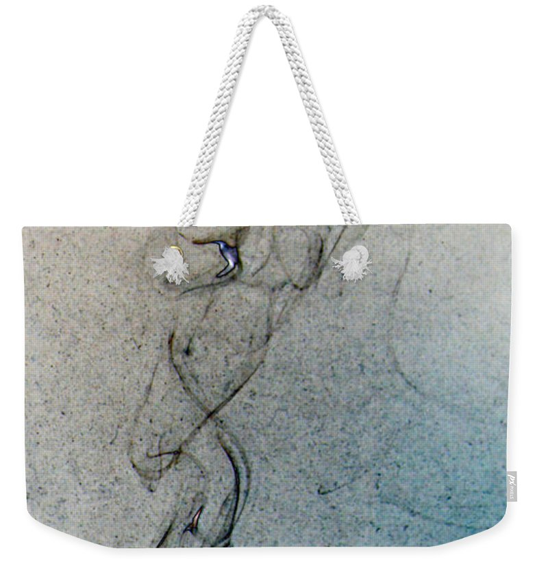 Smoke Weekender Tote Bag featuring the photograph blue smoke trail II by Paulina Roybal