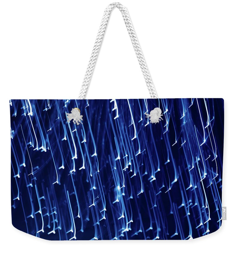 Abstract Weekender Tote Bag featuring the photograph Blue Snow by Mike Penney