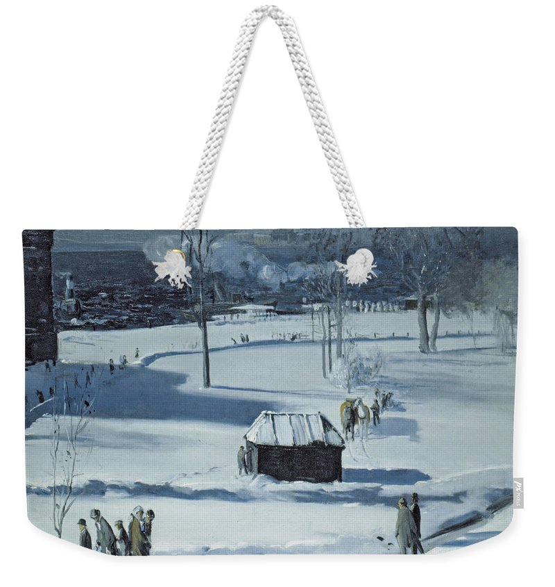 Blue Snow Weekender Tote Bag featuring the photograph Blue Snow, The Battery by George Bellows