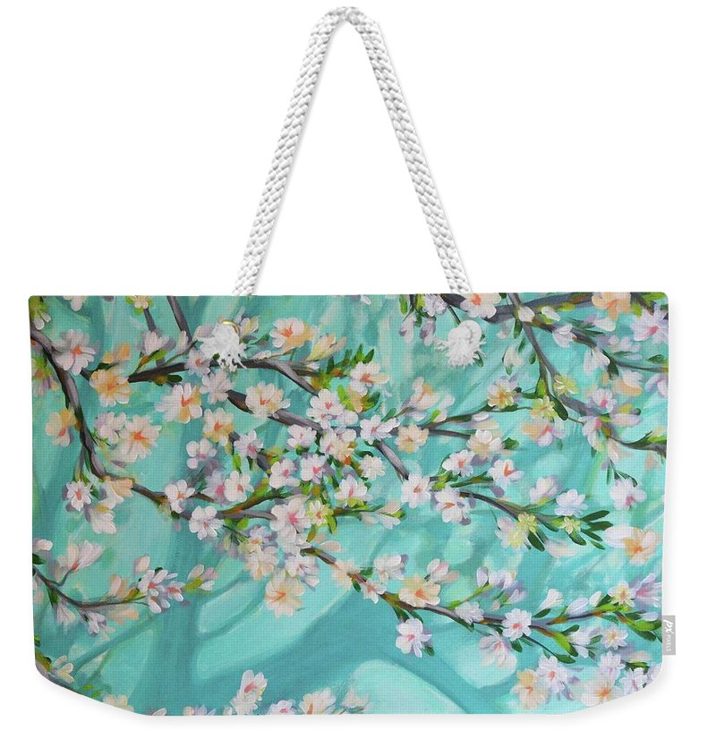 Nature Weekender Tote Bag featuring the painting Blue Spring by Norbert David