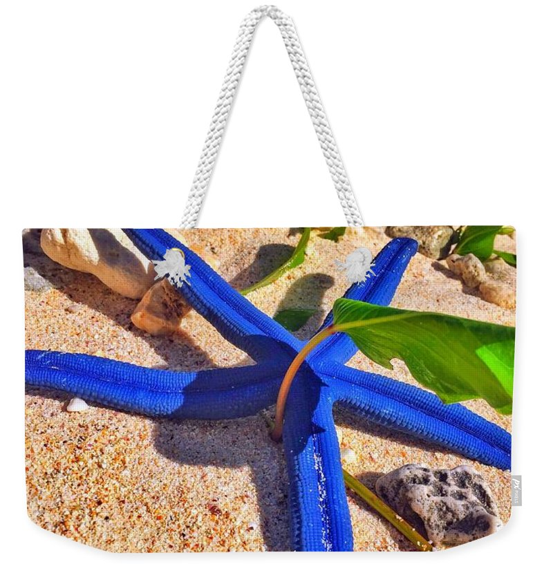 Blue Weekender Tote Bag featuring the photograph Blue Starfish by Jade Phoenix