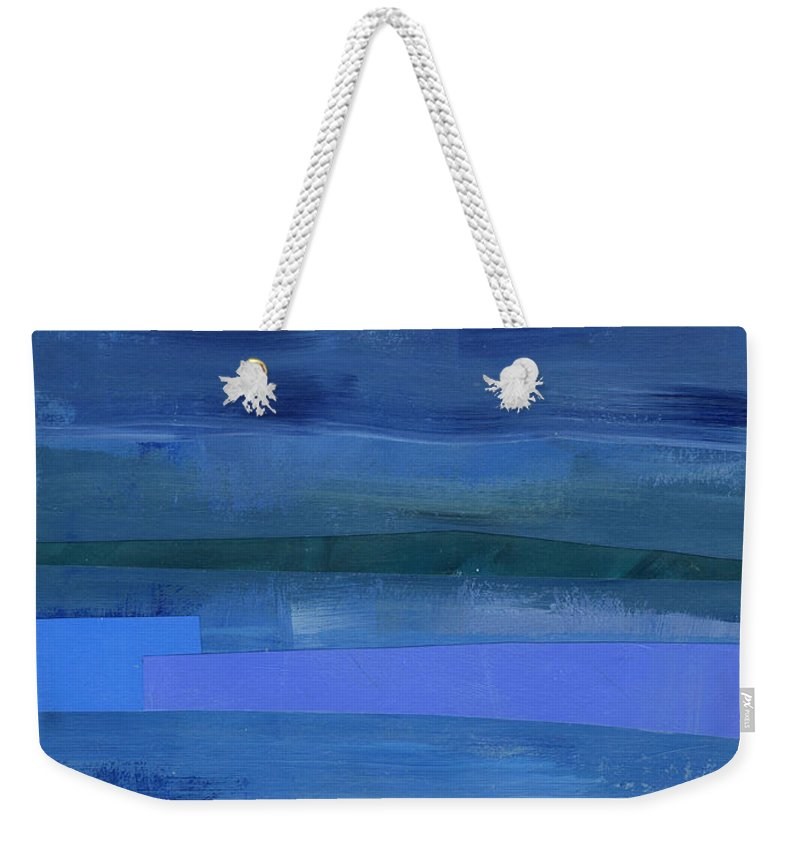 Abstract Art Weekender Tote Bag featuring the painting Blue Stripes 1 by Jane Davies