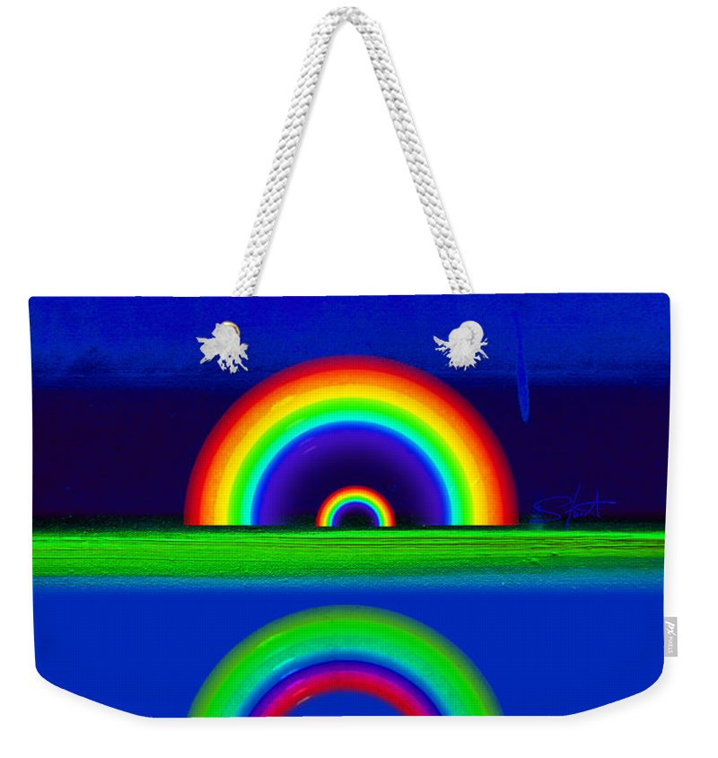 Rainbow Weekender Tote Bag featuring the painting Blue Sunset by Charles Stuart