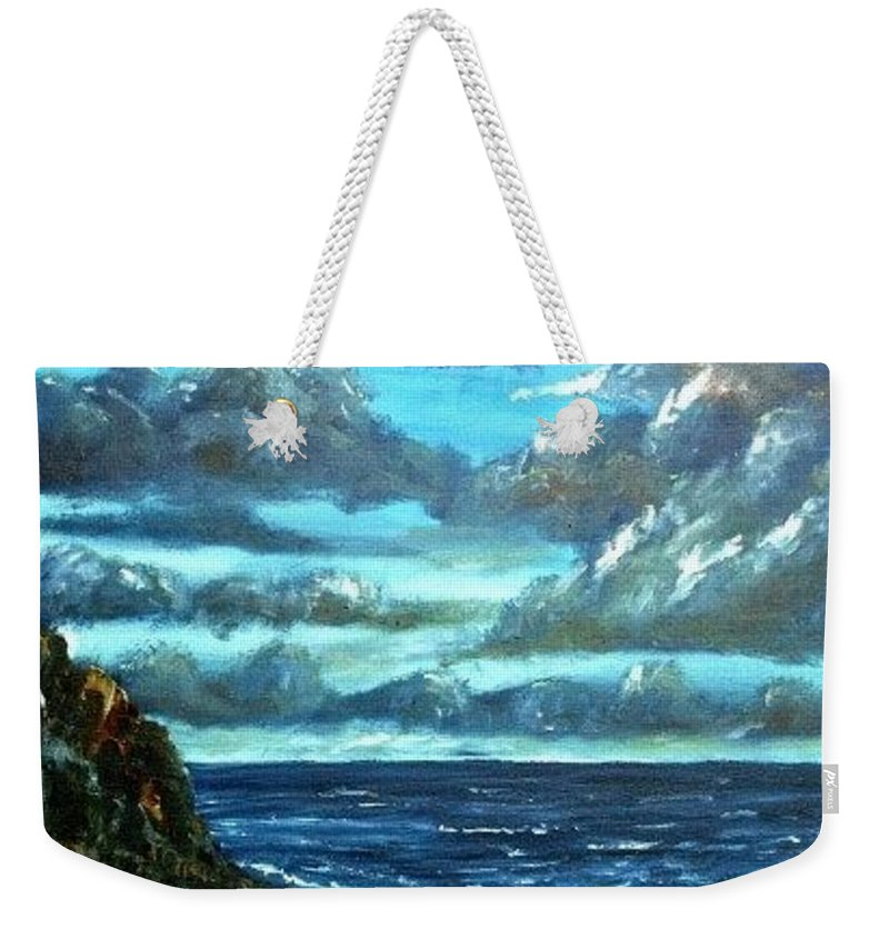 Blue Weekender Tote Bag featuring the painting Blue Sunset Oil Beach Painting by Derek Mccrea