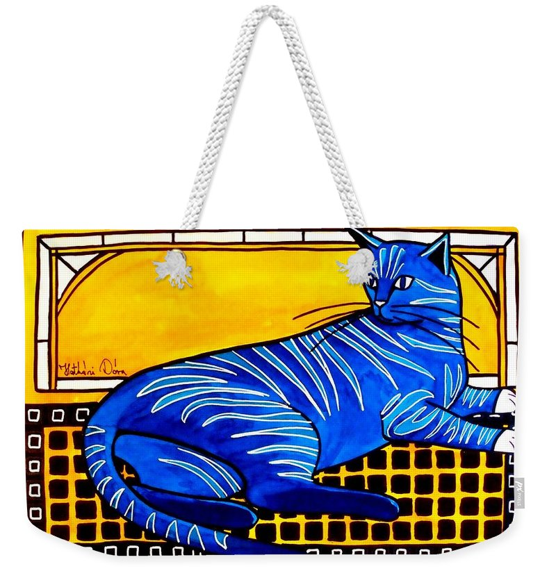 For Kids Weekender Tote Bag featuring the painting Blue Tabby - Cat Art By Dora Hathazi Mendes by Dora Hathazi Mendes