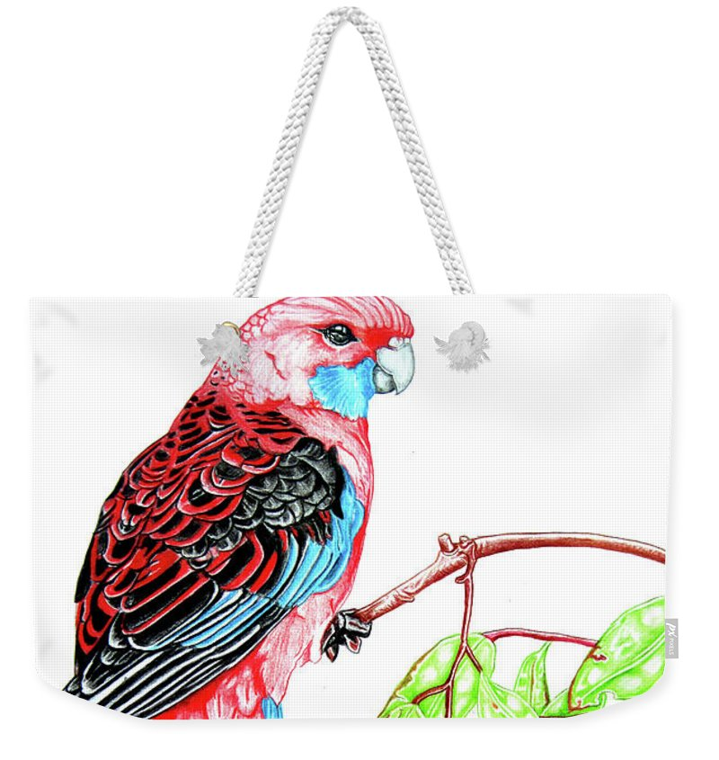 Parrot Weekender Tote Bag featuring the mixed media Blue Tail Parrot - Green Day by Dwayne Hamilton