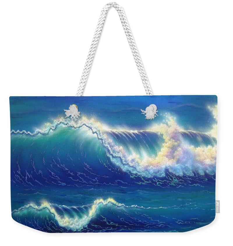 Seascape Weekender Tote Bag featuring the painting Blue Thunder by Angie Hamlin