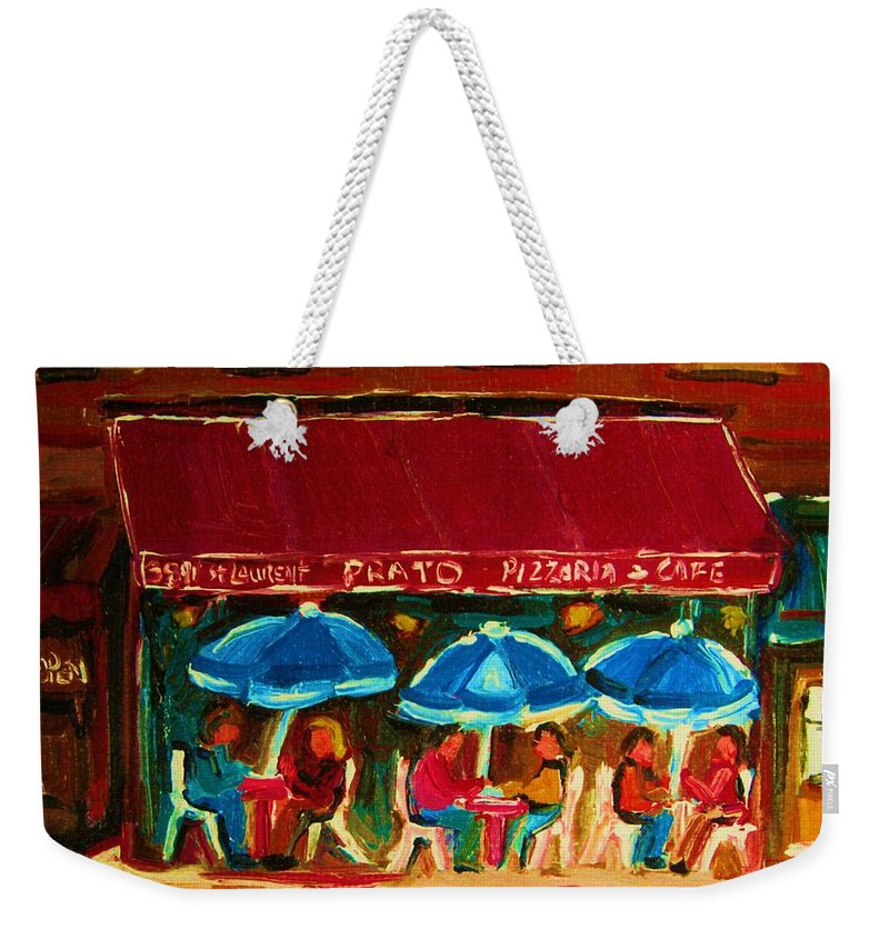 Cafes Weekender Tote Bag featuring the painting Blue Umbrellas by Carole Spandau