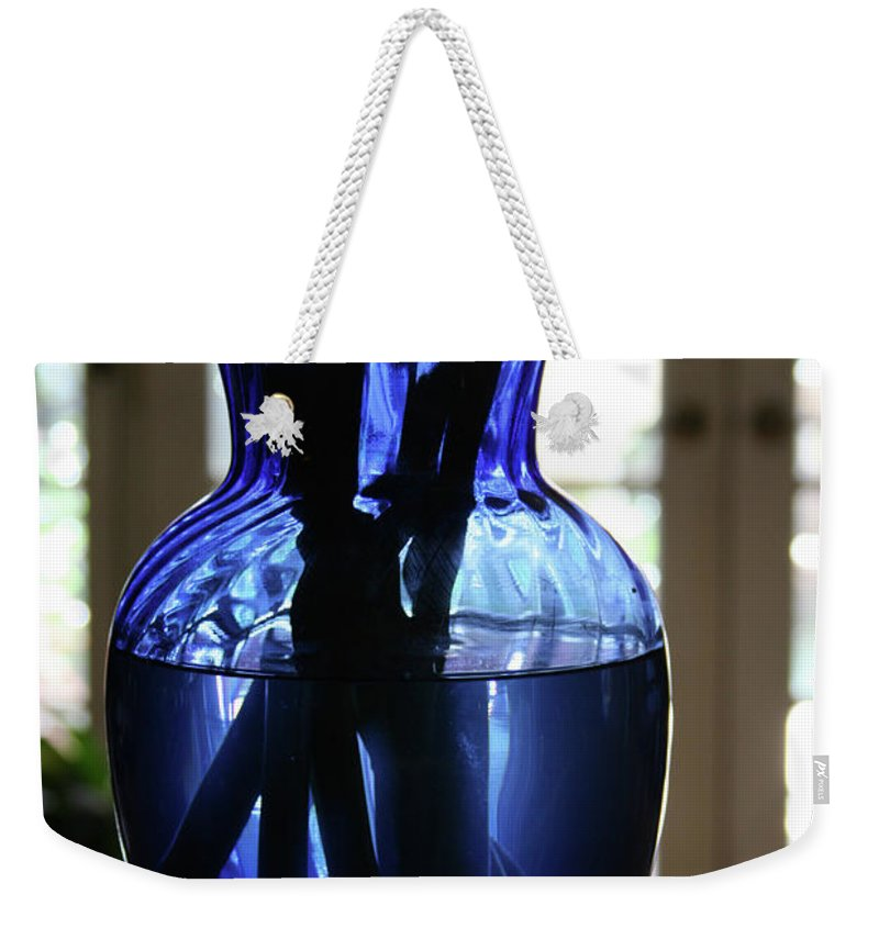 Vase Weekender Tote Bag featuring the photograph Blue Vase by Marna Edwards Flavell