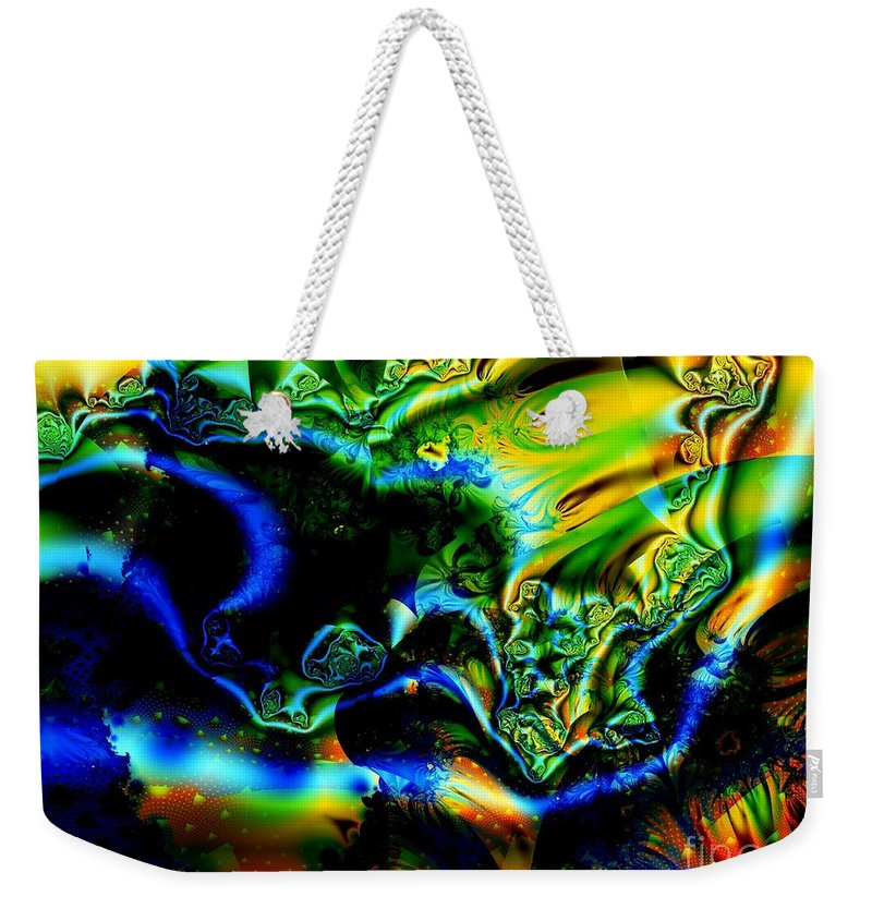 Mineral Vein Weekender Tote Bag featuring the digital art Blue Vein Discovered by Ron Bissett