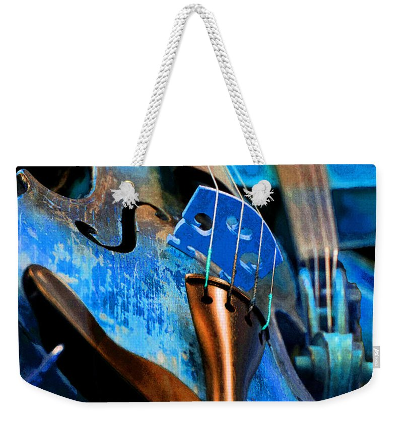 Violin Weekender Tote Bag featuring the photograph Blue Violin by Michele Avanti