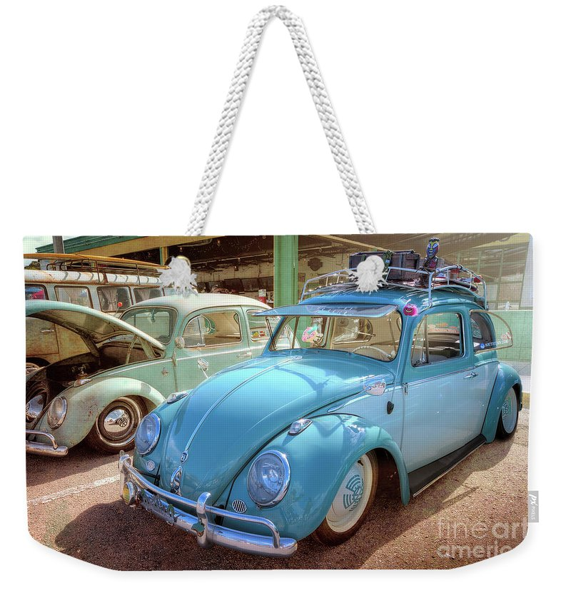 Blue Vw Weekender Tote Bag featuring the photograph Blue Vw by David B Kawchak Custom Classic Photography