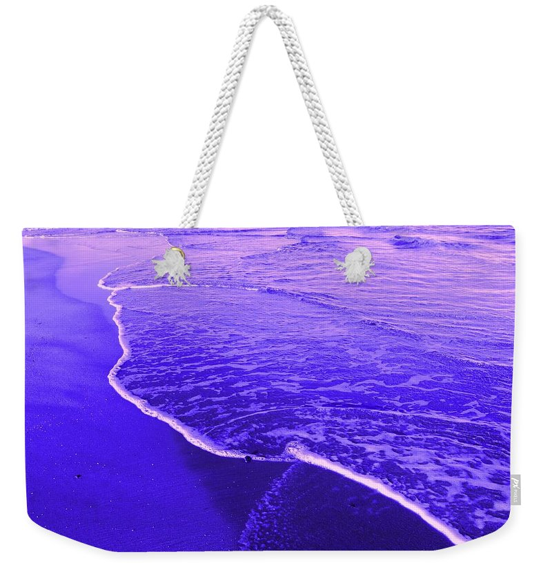 Abstract Weekender Tote Bag featuring the digital art Blue Wash by Ian MacDonald