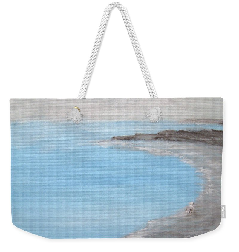 Blue Water Weekender Tote Bag featuring the painting Blue Water by Alina Cristina Frent
