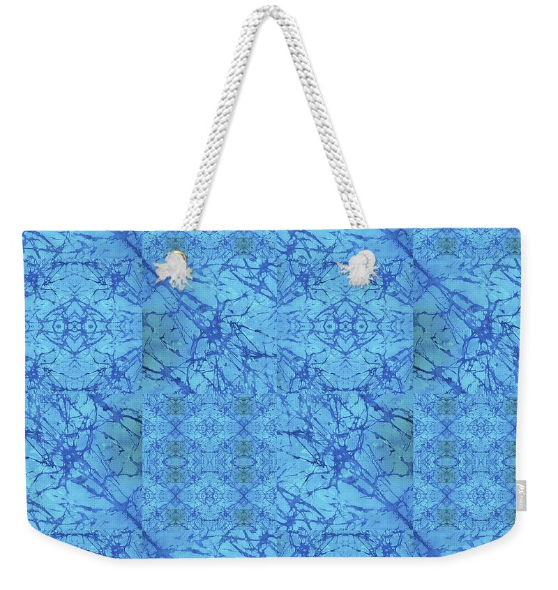 Blue Weekender Tote Bag featuring the painting Blue Water Patchwork by Sue Duda