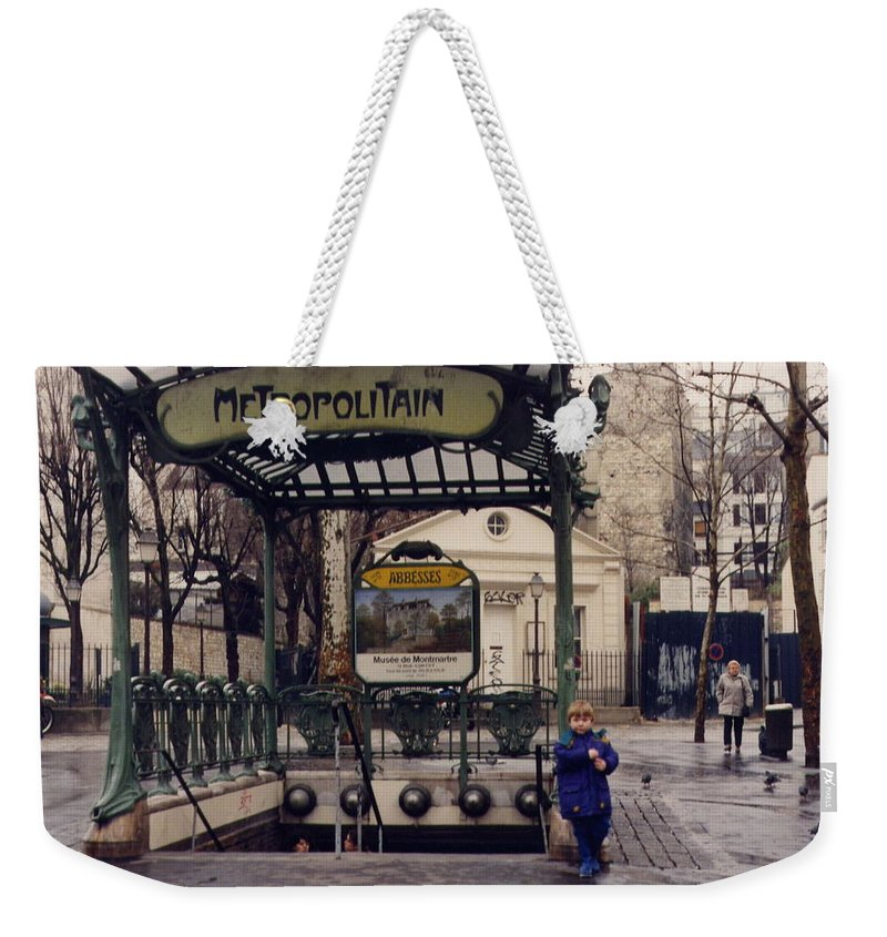 Paris Weekender Tote Bag featuring the photograph Blue Wellingtons by Maria Joy