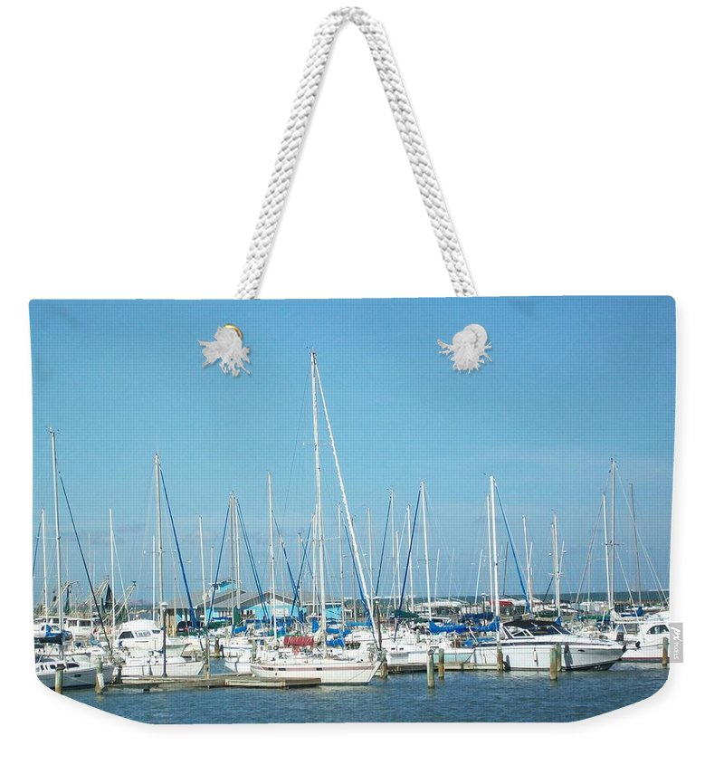 Marina Weekender Tote Bag featuring the photograph Blue White And Blue by Laurette Escobar