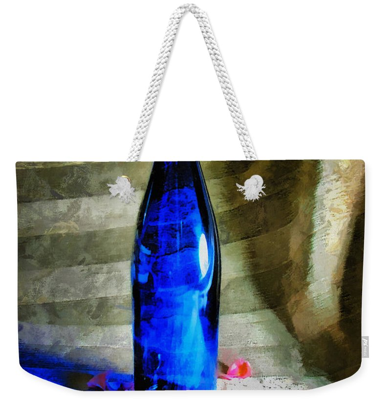 Bottle Weekender Tote Bag featuring the photograph Blue Wine Bottle by Todd A Blanchard