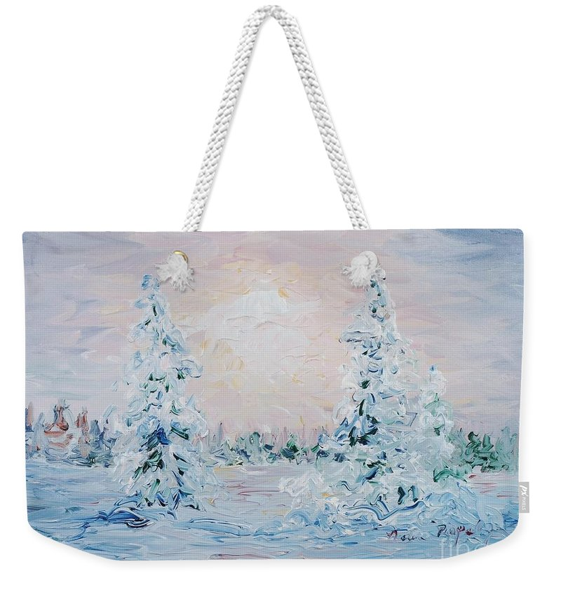 Landscape Weekender Tote Bag featuring the painting Blue Winter by Nadine Rippelmeyer