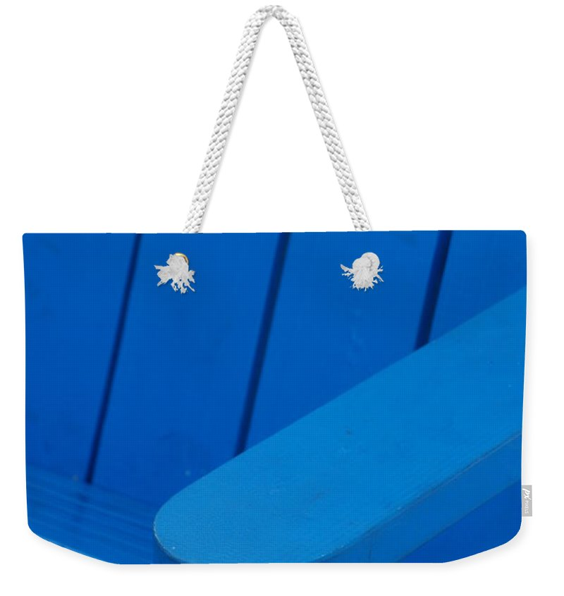 Macro Weekender Tote Bag featuring the photograph Blue Wood by Rob Hans
