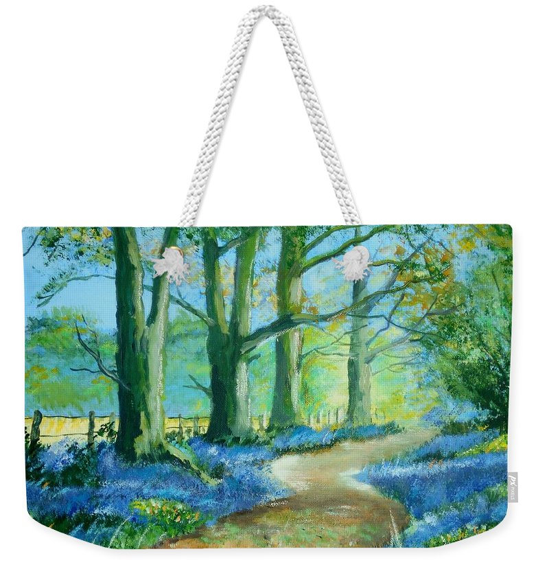 Art Weekender Tote Bag featuring the painting Bluebell Walk by Angie Wright