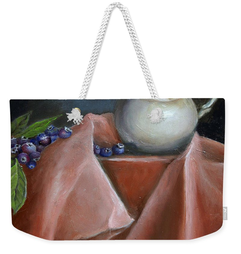 Blueberries Weekender Tote Bag featuring the painting Blueberries And Cream by Portraits By NC