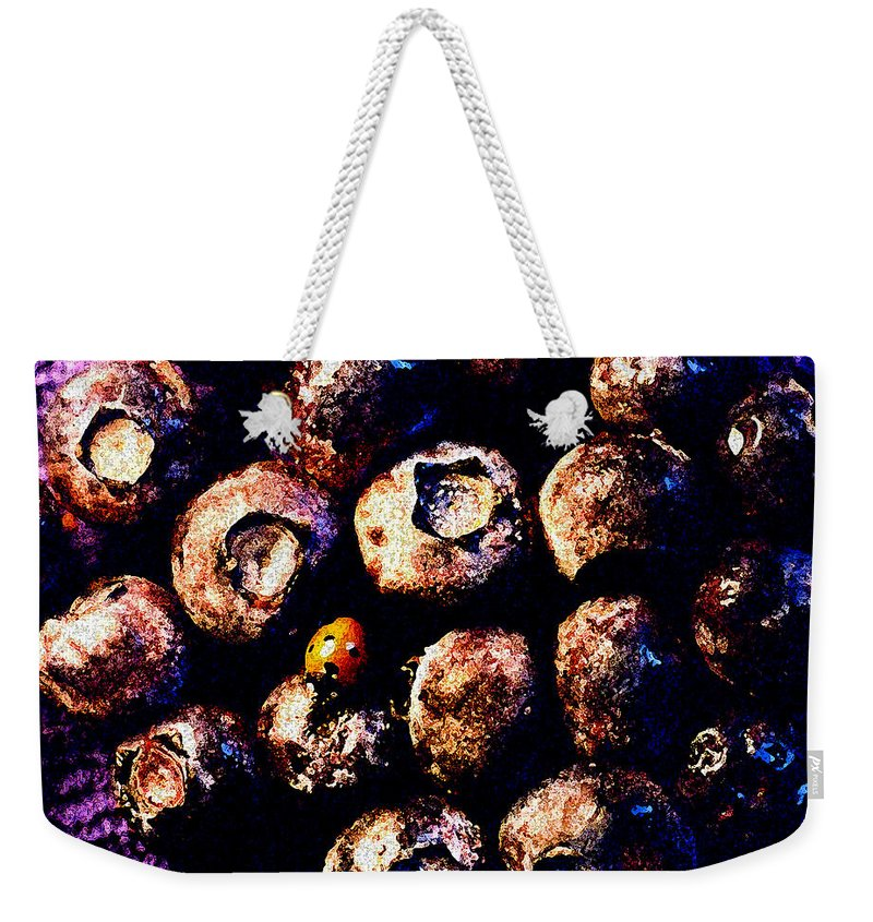 Blueberries Weekender Tote Bag featuring the photograph Blueberries And Ladybug by Nancy Mueller
