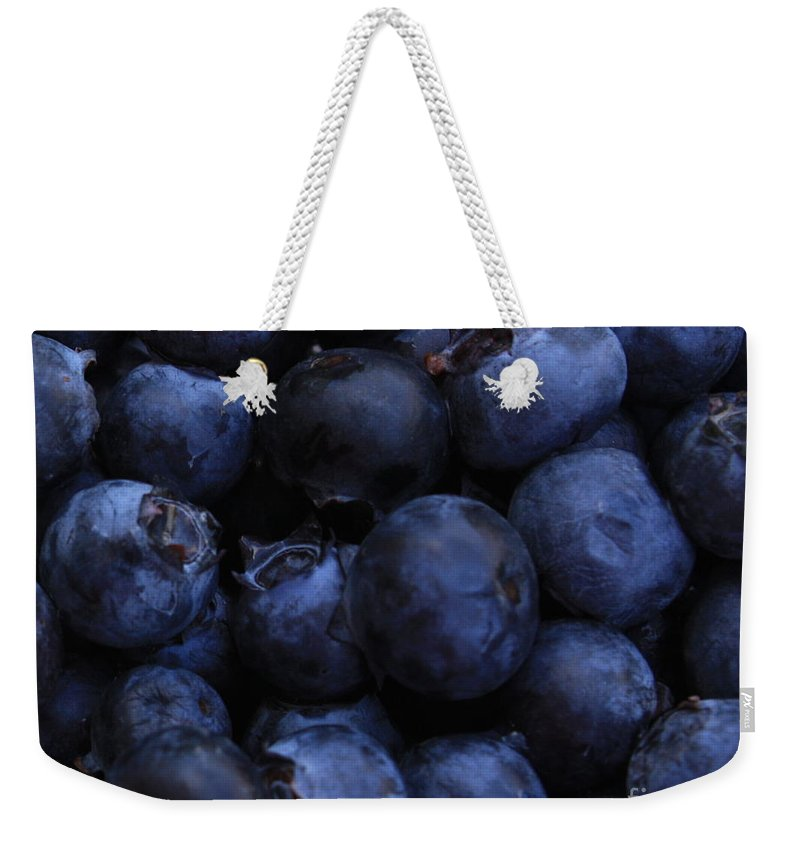 Blueberries Weekender Tote Bag featuring the photograph Blueberries Close-up - Horizontal by Carol Groenen